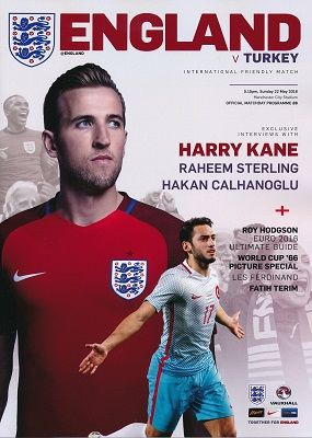 2016 England v Turkey (Euro 2016 warm-up Friendly @ Man City) - official match programme