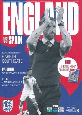 2018 England v Spain (UEFA Nations League @ Wembley) - Official match programme