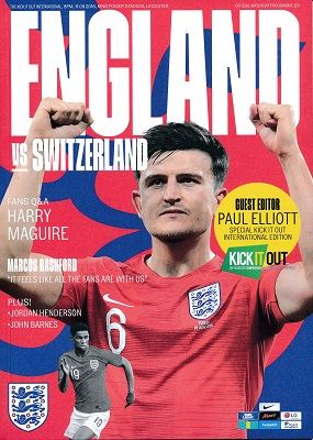 2018 England v Switzerland (International Friendly @ Leicester City) - Official match programme